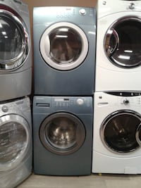 gray front-load washer and dryer set null