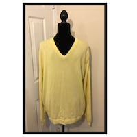 Ashworth Solid V-Neck Golf Sweater..Light Yellow.. Mens Size 38 Large