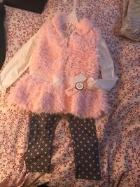 Toddler's pink fur coat and 2 piece set 24 km