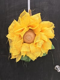 yellow floral mesh wreath
