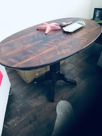 Oval Dining room table height accent table. Rosewood top, beautiful details, need some TLC. Chilliwack, V2R