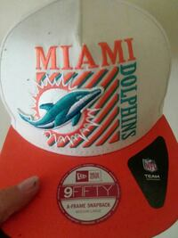 white and orange Miami Dolphins fitted cap
