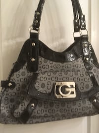 Black & white textile handbag