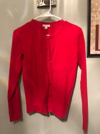 Women's red cardigan small