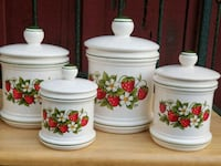 white and red floral ceramic canisters Round Mountain, 96084