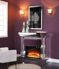 MIRROR/CRYSTAL ELECTRIC FIREPLACE NEW