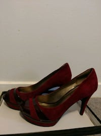 pair of red suede platform stilettos Glenarden, 20706