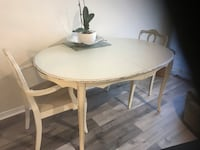 Shabby chic table and two chairs. Antique look. Middle leaf also available but not shown. Table fits 6 with leaf   Oakville, L6M 4B3