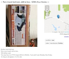 Truck bed tent, new in box.  Fix up to 8 foot bed.