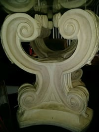 white scroll base very heavy with glass table Waldorf, 20601