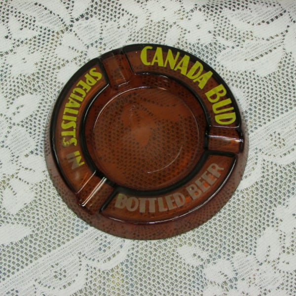Vintage Glass Ashtray Canadian Brewery Advertising
