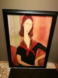 woman with red scarf and black shirt painting with black wooden frame London, N6C 5B5
