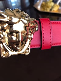red leather Versace belt