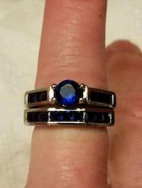 2 price gold filled blue sapphire set size 7