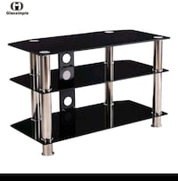 stainless steel frame glass top TV stand Gaithersburg, 20886