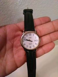 round silver analog watch with black leather strap Mesa, 85201