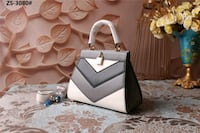 white and gray leather tote bag New York