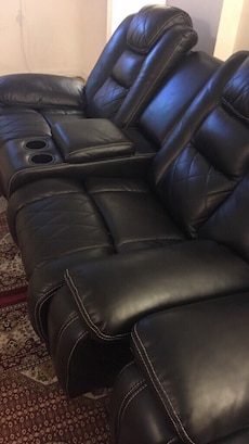 6 person black leather home theater seat