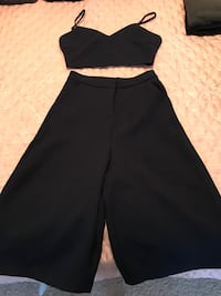 Women's black spaghetti strap crop top and black shorts Vancouver, V6G 3A7