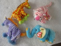BRAND NEW - Ty Beanie baby animals - tiger, zebra, elephant and giraffe Calgary, T2Y 3J8
