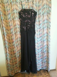women's black and brown floral sleeveless dress