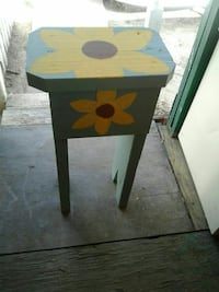 brown and green wooden side table