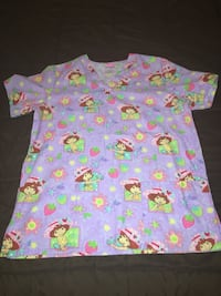purple and green Strawberry Shortcake printed scrub top