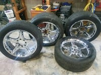 "22 ""chrome 8 lug, 6.5"" bolt pattern rims w tires  Billerica, 01862"