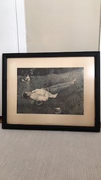 Antique Framed Print . The Berry Picker.
