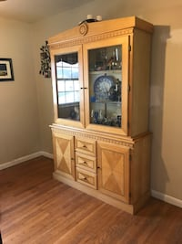"""Lighted hutch, 79"""" tall, 54 """" wide, 17 """" deep, few dings. Frederick, 21702"""