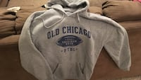 Gray old chicago ftbl printed pullover hoodie