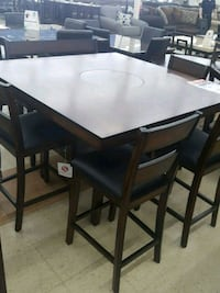 rectangular black wooden table with four chairs dining set Rome, 30165