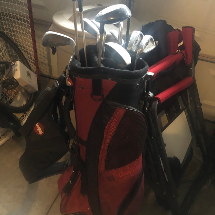 Women's lefty golf clubs and bag, Wilson bag, South Bay Clubs