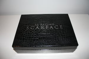 Scarface collectible DVD case with glassware set