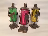 Red green yellow glass lamp set