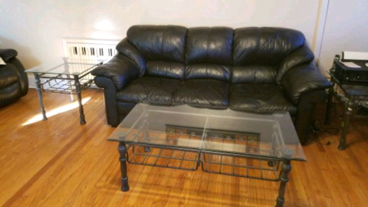 Black Leather Couch Full Size, Cocktail Table, Matching End Table