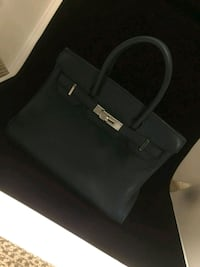 black and gray leather handbag 2261 mi