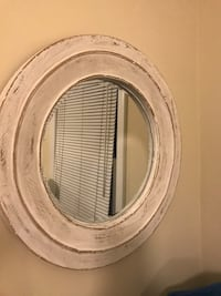 """Lovely wooden white wash mirror.  24"""" round, 2"""" deep. Good condition.  Silver Spring, 20902"""