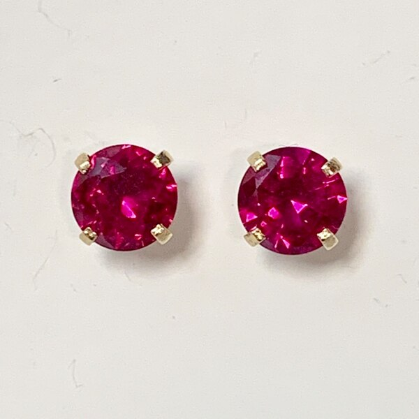Genuine 14k Yellow Gold Ruby Stud Earrings 9b986784-adff-4fd2-86bf-f22aa4ae30f1