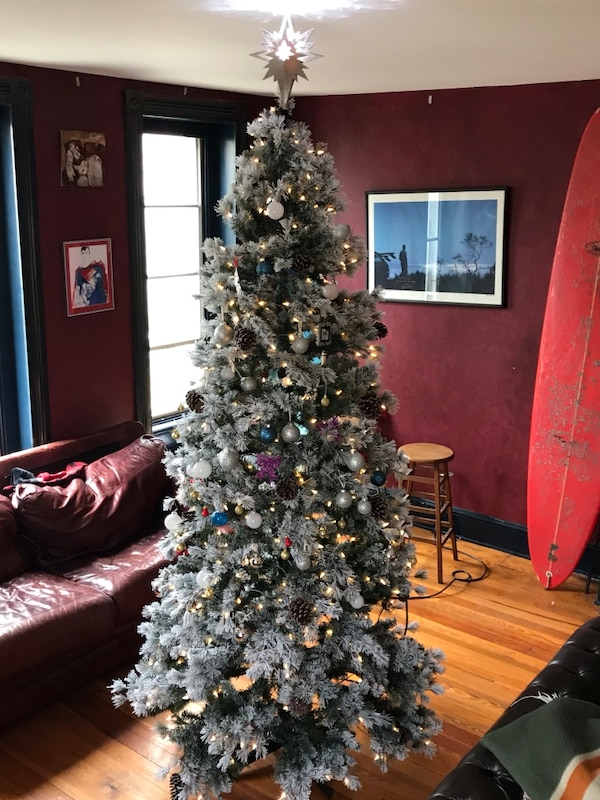 Very Realistic Artificial Christmas Tree Includes Built In Lights Ornaments Star And A Toy Train That Circles The Base