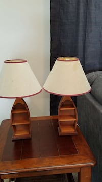 Wooden boat table lamps