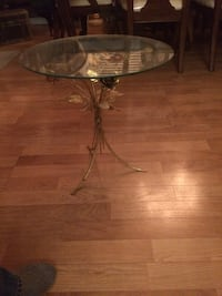 Glass n brass side table