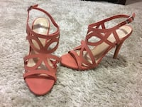 Coral strappy heels size 8 worn once