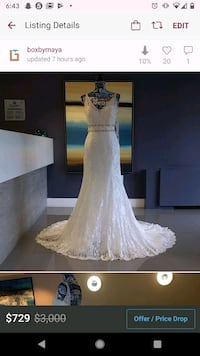 Jasmine Collection Lacy Wedding Gown size 6 Alexandria, 22304