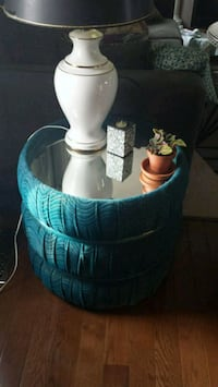Teal velour round mirror side table Grimsby