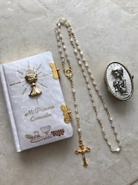 First Comunion Bible and white rosary