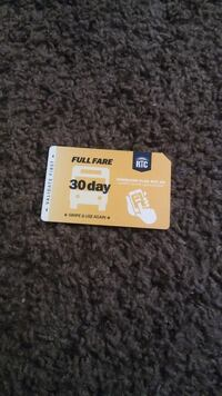 beige Full Fare RTC 30 day card