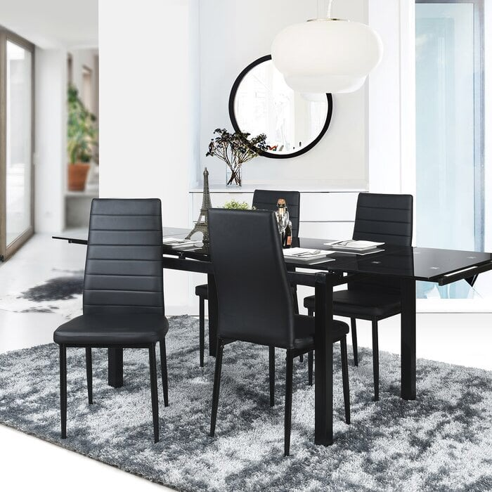 (4) Richey Upholstered Dining Chair- Black
