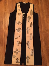 Long knee length vest. New Mexico Motifs. Size Small Antioch