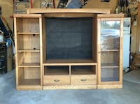 brown wooden TV hutch St. Albert, T8N 6G7